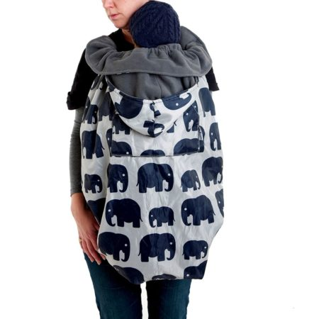 mum wearing raincover for buggy and sling - bundlebean elephant design