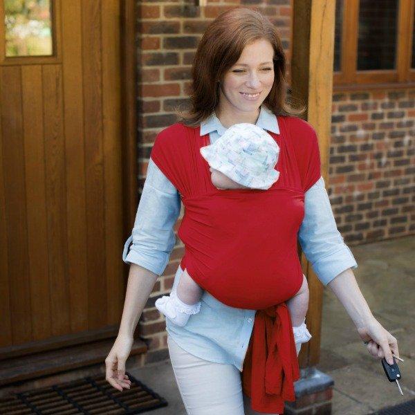 mum walking with bay in red izmi baby wrap bamboo