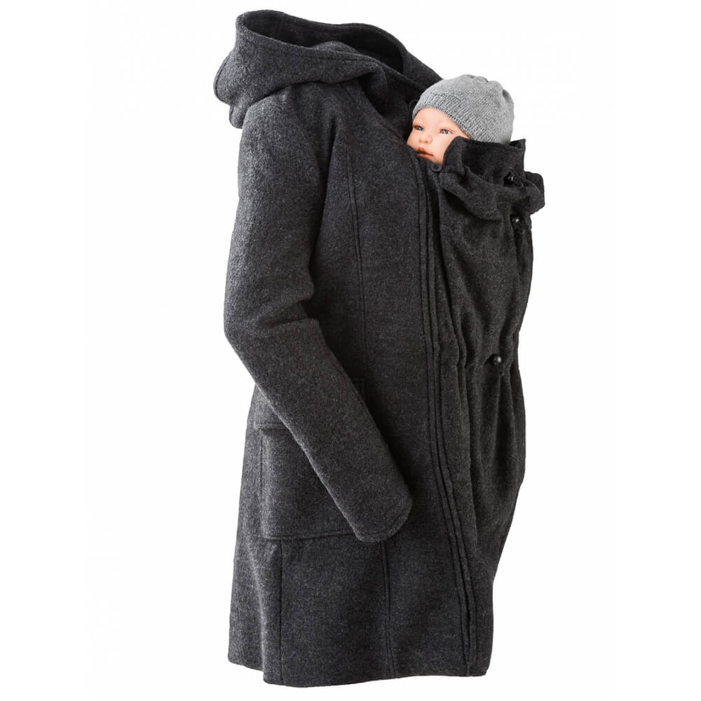 e6f69a12a30fe mamalila hooded wool babywearing coat jacket grey black anthracite close up  product