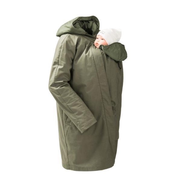 mamalila short coat babywearing maternity jacket uk discount code khaki product close up