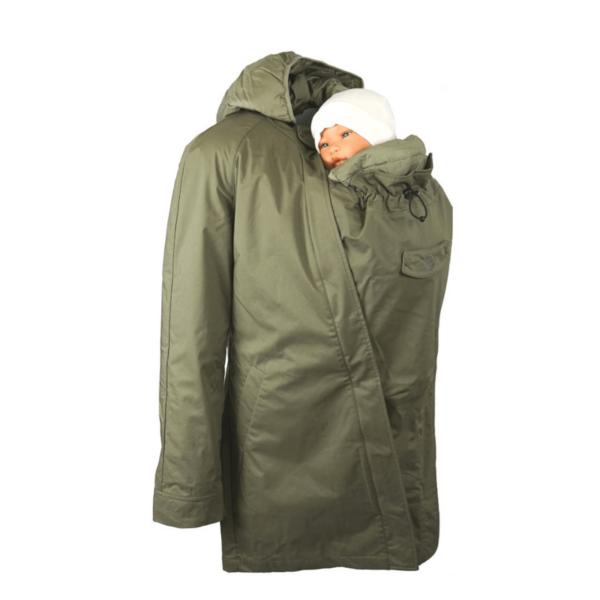 mamalila short coat babywearing maternity jacket uk discount code khaki product close up back carrying