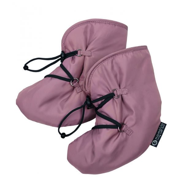 dusty pink baby booties for babywearing winter quilted windproof waterproof mamalila uk freed delivery